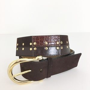 Michael Kors brown patchwork suede leather belt M